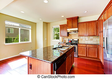 Modern kitchen with island and granite tops