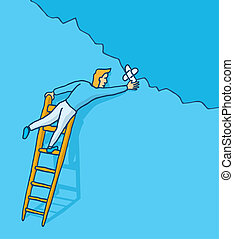 Useless patch up - Cartoon illustration of man patching up a...