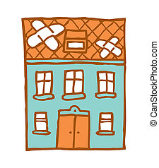 Patched broken home - Cartoon ilustration of a broken house...