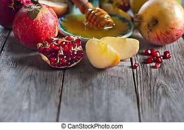 Pomegranate, apples and honey background - Pomegranate,...