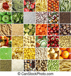 Food collage including pictures of vegetables, fruit, pasta...