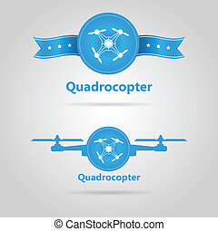 Two blue vector signs of quadrocopter top view - Blue signs...