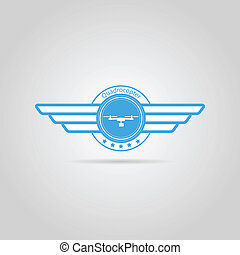 Blue vector sign of quadrocopter with wings - Blue circle...