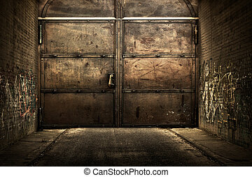 Iron Door in Tunnell Interior Urban Stage