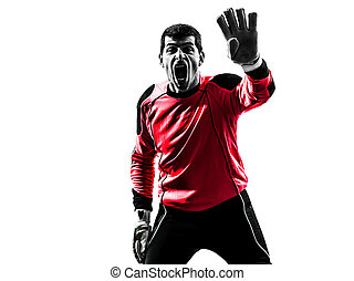 caucasian soccer player goalkeeper man silhouette - one...