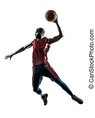 african man basketball player jumping dunking silhouette -...