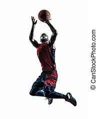 african man basketball player jumping throwing silhouette -...