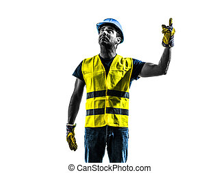 construction worker signaling looking up hoist silhouette -...