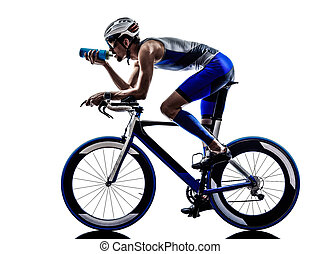 man triathlon iron man athlete cyclist bicycling drinking -...