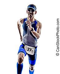 man triathlon iron man athlete runners running in silhouette...