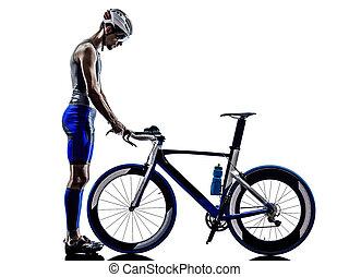 man triathlon iron man athlete in silhouette on white...