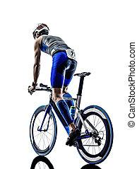 man triathlon iron man athlete cyclist bicycling - man...