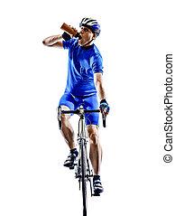 サイクリスト, 自転車, サイクリング, シルエット, 飲むこと, 道