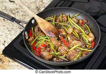 Beef stir fry - Fresh Asian style beef stir fry with green...