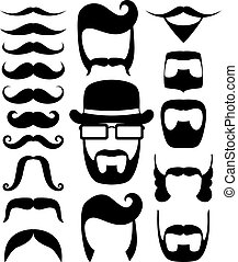 photo booth props party - set of black moustaches and beard...