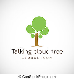 Talking Cloud Tree Vector Concept Symbol Icon Isolated