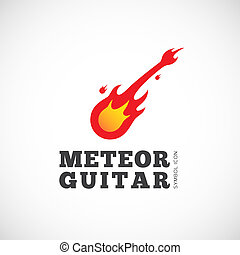 Meteor Guitar Vector Concept Symbol Icon or Logo Template...