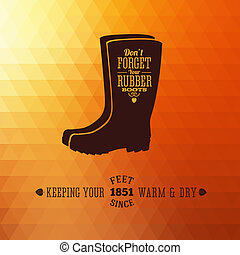Rubber Boots Autumn Abstract Vector Background or Card