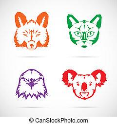 シンボル, ベクトル, セット, 動物, 顔
