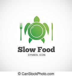 Slow Food Vector Concept Symbol Icon or Logo Template