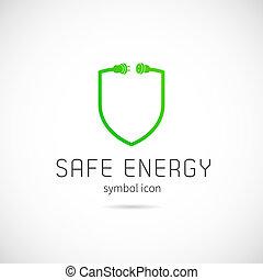 Safe Energy Vector Concept Symbol Icon or Logo Template
