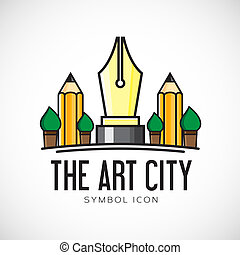 Art City Vector Concept Symbol Icon or Logo Template