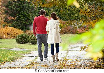 Married couple walking