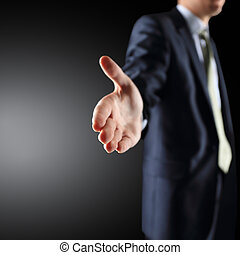 hand ready to seal a deal - A business man with an open hand...