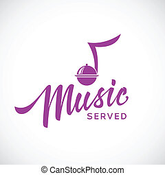 Music served vector concept icon with hand lettering...