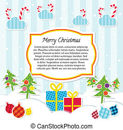 Flat Style Scrapbooking Vector Christmas Background or Card