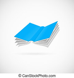 Flying book abstract vector symbol icon