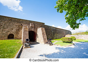 The wall of Citadelle de Dinant with arch door