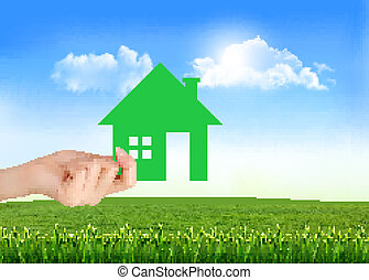 The house in hand on green natural background. Vector.