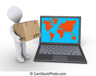 Shipping to the whole world - 3d person holding a cardboard...