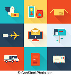 mail vector set flat style design ui