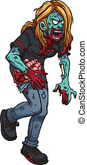 Walking zombie woman. Vector clip art illustration with...