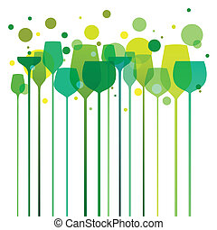Party time - Stylized illustration of elegant drink glasses