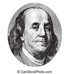 Benjamin Franklin portrait from a hundred US dollar bill