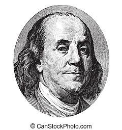 Benjamin Franklin portrait from a hundred US dollar bill