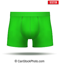 Male green underpants brief. Vector Illustration isolated on background.