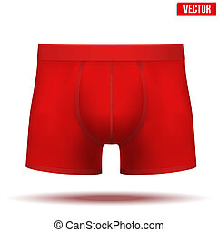 Male red underpants brief. Vector Illustration isolated on background.