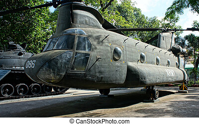 helicopter at War Remnants Museum - HO CHI MINH , VIETNAM-...