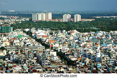 Impression panaromic of Asia city on day - HO CHI MINH...