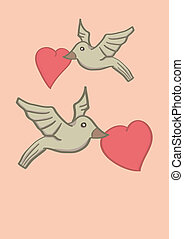 Two Birds Holding Heart Shape in Beaks and Flying in Air -...