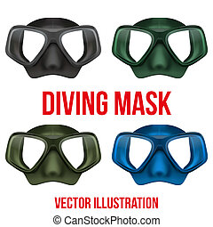 Set of Underwater diving scuba mask Vector - Set of Front...