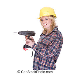 Craftswoman with drill machine - Full isolated portrait of a...