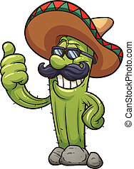 Mexican cactus - Mexican cartoon cactus. Vector clip art...