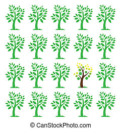 Vector images of trees. Different concepts
