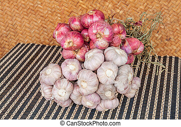 Bunch of garlic and shallot