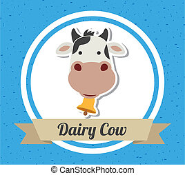 cow design over blue background vector illustration